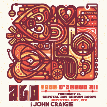 """Sat. Feb. 24th-2018/ ALO """"Tour D' Amour XII """" w/ John Craigie + After Party w/ Niki J Crawford – In The Crystal Bay Club Casino Crown Room- On Sale Now!"""